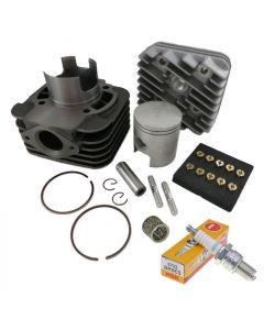 70ccm Zylinder Kit + Zündkerze NGK B9ES + Nadellager + Düsenset Piaggio AC