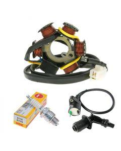 Lichtmaschine Stator + NGK Zündkerze + Zündspule Peugeot stehend