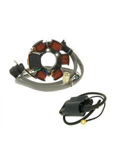 Lichtmaschine Stator + CDI mit Zündspule für Piaggio, Gilera (-98)