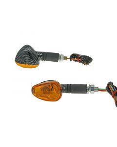 Blinker Set M10 Carbon-Look Doozy orange, lang